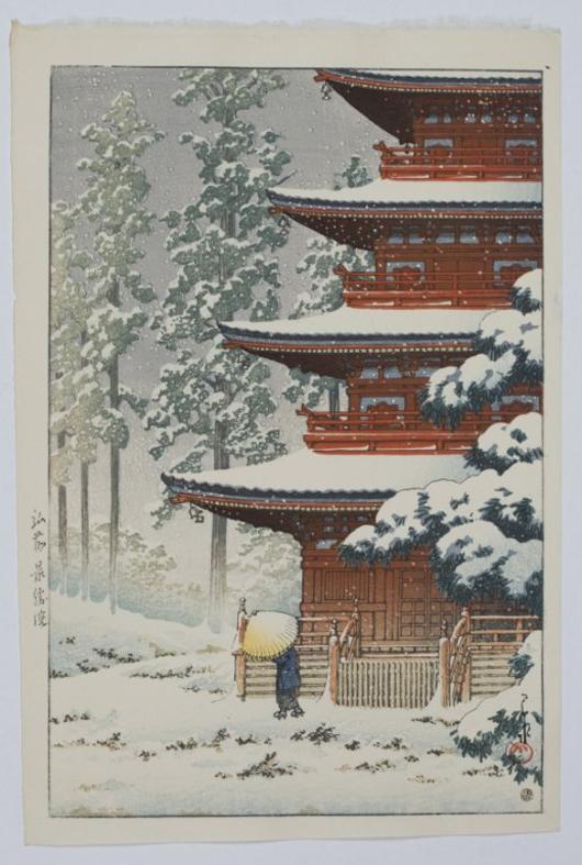 Kawase Hasui (Japanese, 1883-1957) woodblock print titled 'Saisho Temple, Hirosaki,' 1936. Estimate $200-$400. Quinn's Auction Galleries image.