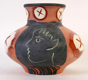 Lot 185 - Madoura limited edition (69/150) Picasso polychromed clay pot or vase circa 1953. Kamelot Auction House image.
