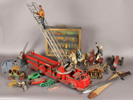 Lot 362 - enormous estate lot of vintage mid-late 20h century model train items and toys. Kamelot Auction House image.