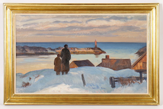 Lot 431 - Gifford Beal, 'Late Afternoon, Winter' oil on linen. Kamelot Auction House image.