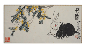 Qi Baishi (1864-1957), 'Rabbits Under Osmanthus Tree.' Price realized: $383,500. Michaan's Auctions image.
