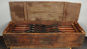 Crate of 20 Model 1884 .45/.70 caliber 'trapdoor' rifles previously purchased from Montana National Guard, $34,800. Morphy Auctions image.
