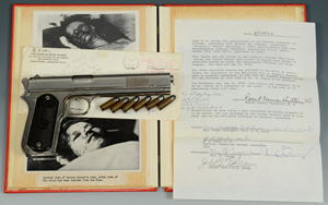 Outlaw Bonnie Parker never had time to pull this Colt .38 pistol before she and Clyde Barrow were ambushed. The gun, bullets and photo archive will be sold at Case's Jan. 25 auction with a $125,000-175,000 estimate. Case Antiques image.