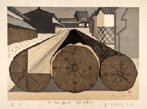 Junichiro Sekino, 'Fukuroi: Annual Growth Rings,' No. 28 from Fifty-three Stations of the Tokaido, woodblock print. Gift of Bruce and Marilyn Shobaken, UC 96.10. Palmer Museum of Art.