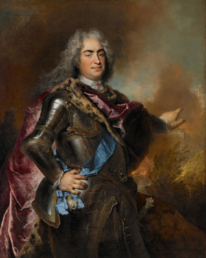 Nicolas de Largillière (French,1656-1746), portrait of Augustus the Strong, Elector of Saxony and King of Poland, ca. 1714-1715. Oil on canvas. 57 1/2 x 45 1/2 inches (146 x 116 cm). The Nelson-Atkins Museum of Art, Kansas City, Missouri; 54-35.