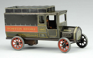 Bing tin wind-up Diamond T truck advertising Boston Store – State, Madison & Dearborn Sts. Est. $2,000-$3,000. Morphy Auctions image.
