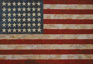 Lithograph after Jasper John's painting 'Flag.' It is believed that the use of this work to illustrate the subject in question qualifies as fair use under U.S. copyright law. Image courtesy of LiveAuctioneers.com Archive and T&R Art Inc.
