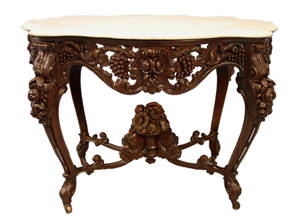 Rosewood rococo marble turtle-top parlor center table attributed to J. & J. W. Meeks. Price realized: $33,350. Stevens Auction Co. image.
