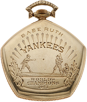 Babe Ruth's 1923 World Series champion New York Yankees pocket watch. Heritage Auctions image.