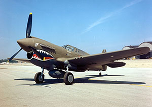 A U.S. Army Air Force Curtiss P-40E Warhawk of the National Museum of the United States Air Force in Dayton, Ohio. U.S. Air Force image, courtesy of Wikimedia Commons.