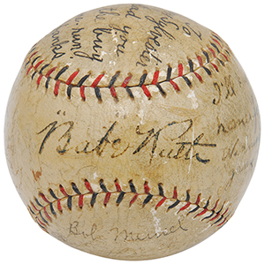 """The """"I'll Knock a Homer For You"""" baseball autographed by Babe Ruth and inscribed by five other New York Yankees. Grey Flannel Auctions image."""