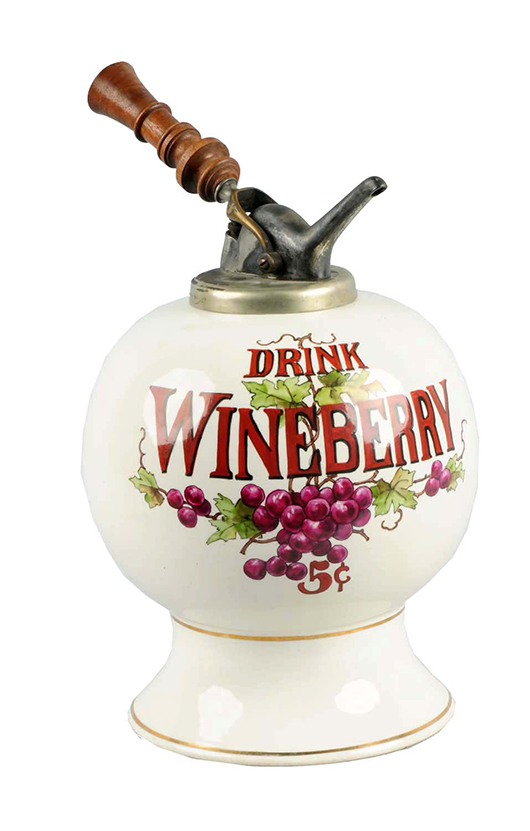 1920s Wineberry ceramic syrup dispenser, est. $10,000-$15,000. Morphy Auctions image.