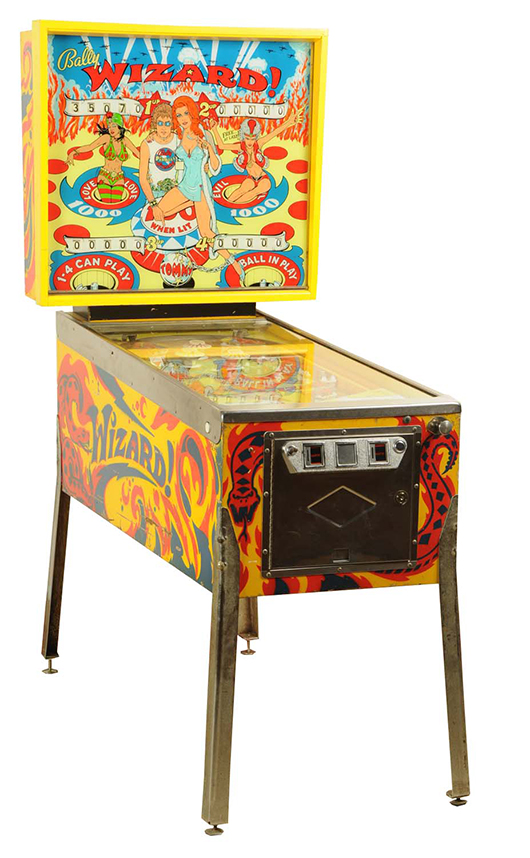 Bally 'Wizard' pinball machine with characters from the rock musical 'Tommy' portrayed by Roger Daltrey and Ann-Margret, 1975, est. $1,000-$1,500. Morphy Auctions image.