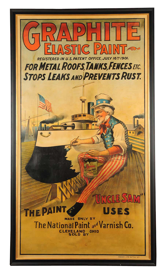 Poster advertising Graphite Elastic Paint with fine image of Uncle Sam painting a boat, 45¾ x 81in (framed), est. $2,000-$4,000. Morphy Auctions image.