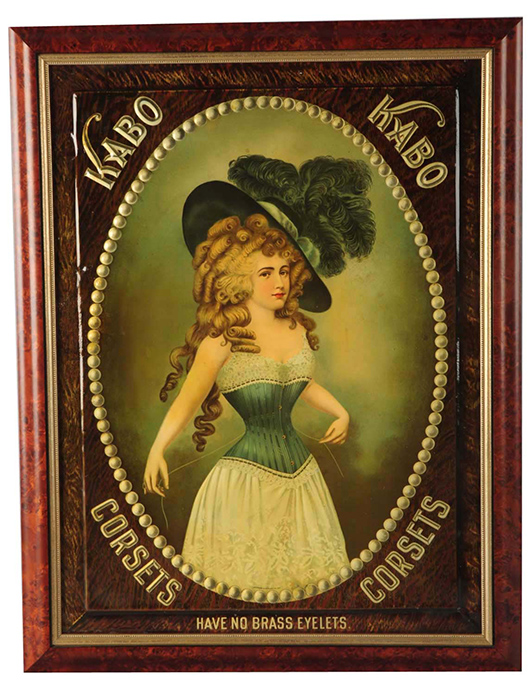 Kabo Corsets embossed tin sign, circa 1900, est. $2,000-$3,500. Morphy Auctions image.