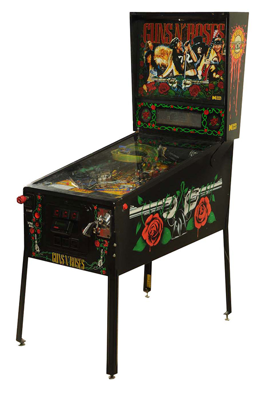 Data East 'Guns N' Roses' pinball machine, 1994, est. $3,000-$3,500. Morphy Auctions image.