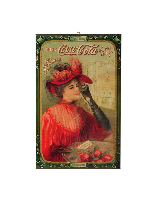 1908 Coca-Cola poster, 24 x 32½ in (framed), est. $18,000-$25,000. Morphy Auctions image.