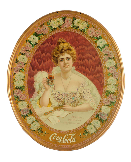 Rare 1903 Coca-Cola self-framed tin sign featuring model Hilda Clark, est. $10,000-$15,000. Morphy Auctions image.