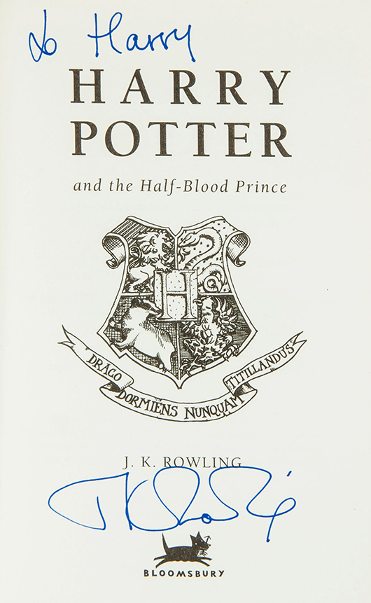 J.K. Rowling's 'Harry Potter and the Half-Blood Prince' with signed presentation inscription from the author 'To Harry' on the title page sold for £1,037 ($1,704). Dreweatts & Bloomsbury Auctions image.