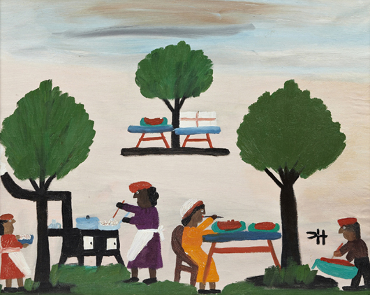 Oil on board folk art rendering by Clementine Hunter (1887-1988) titled 'The Watermelon Picnic.' Crescent City Auction Gallery image.