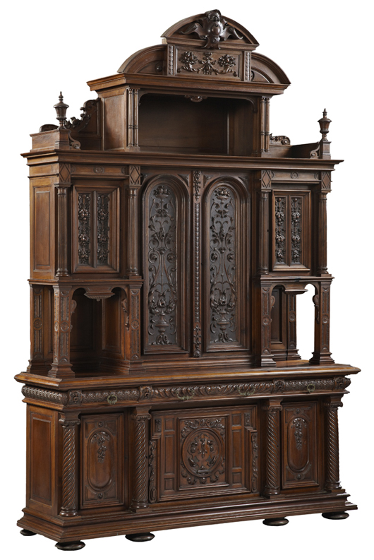 Monumental sideboard, part of a 12-piece dining room suite by the French maker Emile Leger. Crescent City Auction Gallery image.