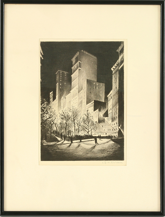Christopher Richard Wynne Nevinson ARA (1889-1946), 'Metropolis or 2 a.m., New York' (from the American set, 1921), drypoint, signed in pencil, plate 25.3 x 17.7cm. Sworders image.
