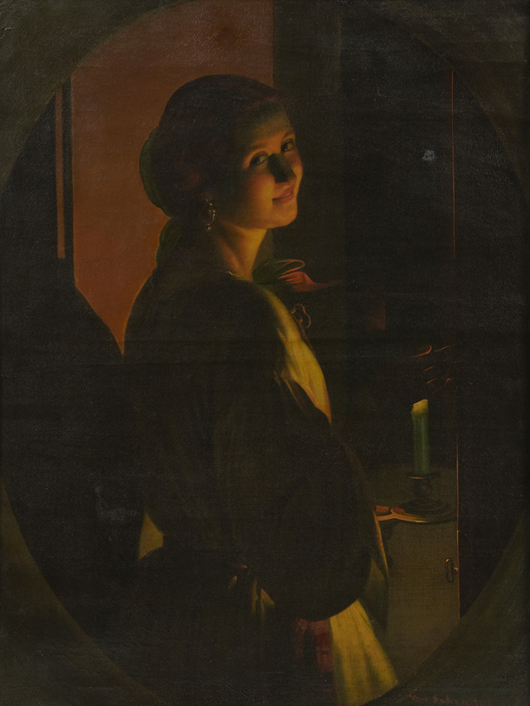 Oil on canvas by Petrus Van Schendel (Belg., 1806-1870), titled 'Young Woman by Candlelight.' Crescent City Auction Gallery image.