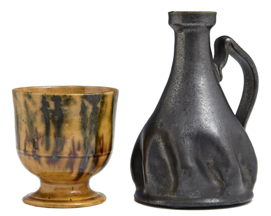 Pottery pieces will include this cup and candlestick by George Ohr and a Newcomb Pottery vase. Crescent City Auction Gallery image.