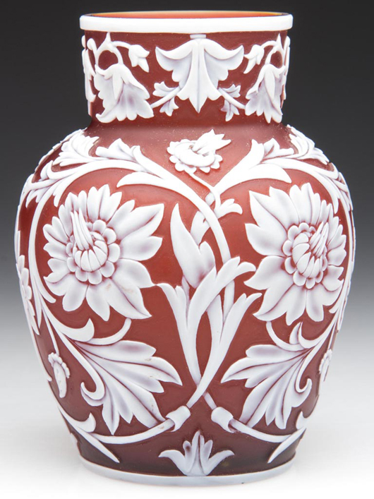 Lot 999: Thomas Webb & Sons, English cameo cabinet vase, white to deep red, fourth quarter 19th century, 4 inches high. Price realized: $3,450. Jeffrey S. Evans & Associates image.