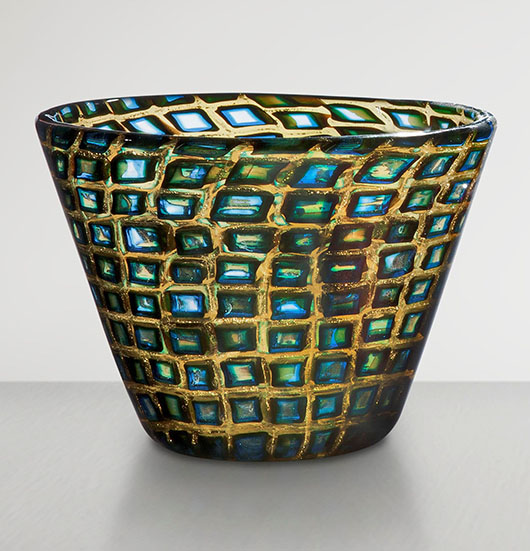 This colorful low vase in the murrine romane technique is one of the highlights of 'Venetian Glass by Carlo Scarpa: The Venini Company, 1932-1947' at the Metropolitan Museum of Art through March 2. A similar vase was exhibited at the Venice Biennale in 1936. Private collection. Photo courtesy Metropolitan Museum of Art.