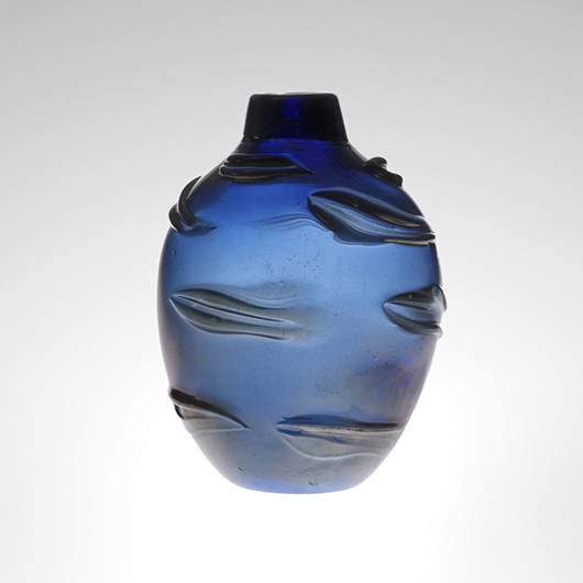 Among his works with relief decoration, Scarpa designed a series featuring swirling elliptical patterns and an iridized surface. A beautiful deep blue rilievi vase, circa 1935, doubled its high estimate to sell for $81,700 in Wright's Italian Glass auction in June 2012. Courtesy Wright Auctions.ç