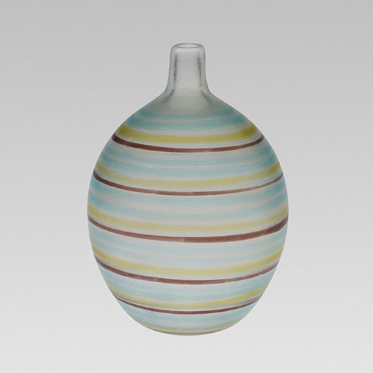 Glass in the a fili technique, decorated with horizontal thread-like colored bands, was first exhibited in Venice in 1940. This narrow-necked vase, almost 9 inches high, brought $41,250 at auction in 2013. Courtesy Wright Auctions.