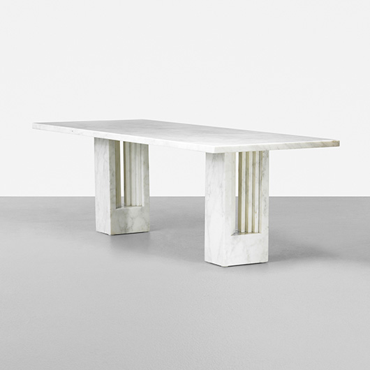 Architect Carlo Scarpa collaborated with fellow architect/designer Marcel Breuer on the marble Delfi table, produced as part of Simon Gavina's Ultrarazionale collection in 1968. An example sold for $23,750 in 2012. Courtesy Wright Auctions.