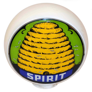 Spirit Gas globe with distinctive beehive logo, 13.5in lenses, rated 9.5. Estimate $10,000-$15,000. Morphy Auctions image.