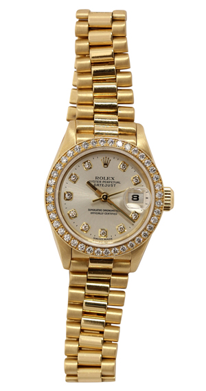 Lady's Rolex Datejust President 18K yellow wristwatch, Ref. 69138, circa 1995. Clars Auction Gallery image.