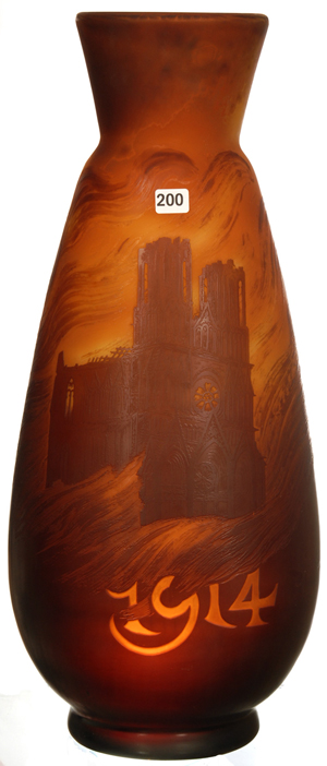 Museum-quality signed Galle French cameo art glass, 'Burning Cathedral' vase, 20 inches tall, dated 1914. Woody Auction image.