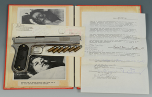 Outlaw Bonnie Parker's Colt .38 pistol, retrieved from her dead body at a Louisiana funeral home, sold to an anonymous buyer for $99,450. The lot included six bullets still in the chamber and a photo archive. Case Antiques image.