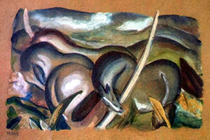 Franz Marc (1880-1916), 'Pferde in Landschaft' (Horses in Landscape), gouache on paper, one of the paintings found in Gurlitt's flat. Image courtesy of Wikimedia Commons.
