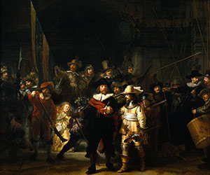 Rembrandt (Dutch, 1606-1669), 'The Company of Frans Banning Cocq and Willem van Ruytenburch,' a k a 'The Night Watch,' painted in 1642. Collection of Rijksmuseum in Amsterdam.