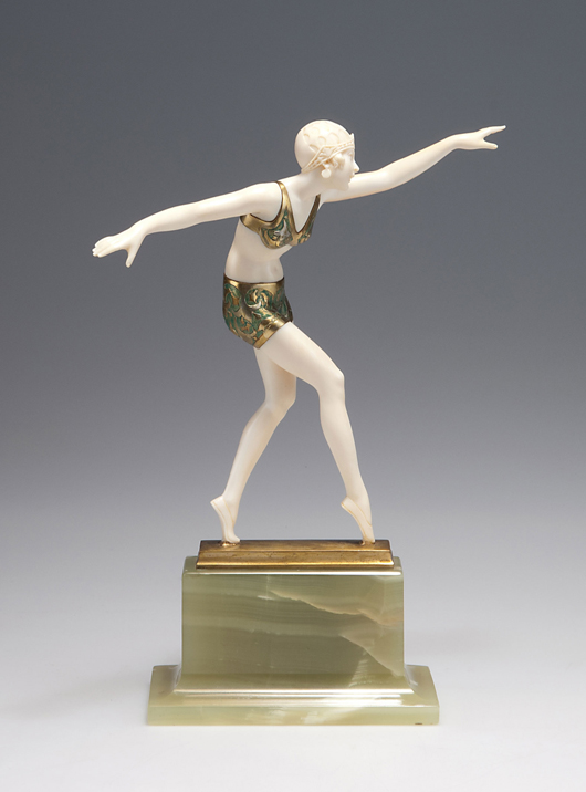 Jugendstil sculpture of tiptoeing woman by Ferdinand Preiss. Estimate, 7,000 to 9,000 euros ($9,400 to $12,200). Photo courtesy of Quittenbaum Kunstauktionen.