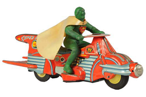 Top lot of the sale: Bandai Flying Spaceman, tin litho, friction, original box, $55,200. Morphy Auctions image.