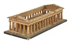 Lot 105: 19th century Italian grand tour cork model of the Temple of Poseidon at Paestum. Estimate: £400-£600. Sworders Fine Art and Auctioneers image.