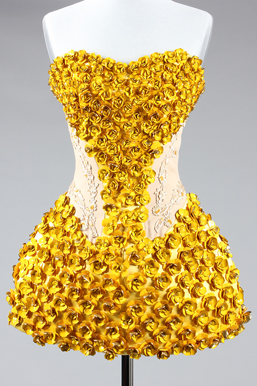 Fine and important Alexander McQueen enamelled metal 'buttercup' dress, 'Natural Distinction, Un-Natural Selection' collection, Spring-Summer, 2009.  Sold for £3600 at Kerry Taylor Auctions, London, December 3, 2013. Kerry Taylor Auctions image.