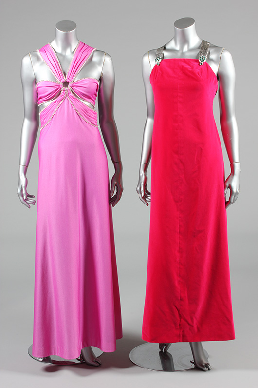 Mademoiselle Carven pink velvet sheath, with silver straps and metal ladybird clasps, circa 1969, and a pink jersey gown with rhinestone-trimmed straps, probably Loris Azzaro, late 1970s. (part of a larger group lot). Estimate £200/300. From Kerry Taylor Auction's February 25, 2014 Vintage Fashion sale, London. Kerry Taylor Auctions image.
