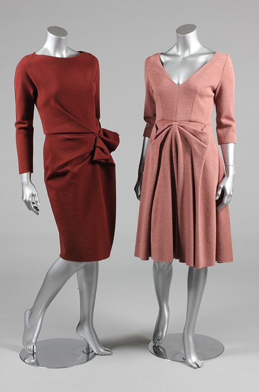 From a group of 9 contemporary day and dinner pieces, a Lanvin rust-colored jersey knit dress and a Vuitton old-rose-colored jersey knit dress.  Estimate £200/300 From Kerry Taylor Auction's February 25, 2014 Vintage Fashion sale, London. Kerry Taylor Auctions image.