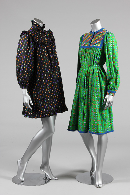 Group of Yves Saint Laurent printed dresses and separates, mainly mid 1970s-early 80s. (part of a group lot). Estimate: £300/500. From Kerry Taylor Auction's February 25, 2014 Vintage Fashion sale, London. Kerry Taylor Auctions image.