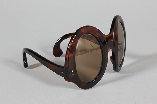 Philippe Chevalier sunglasses, late 60s-early '70s, faux tortoiseshell frames, sloping oval lenses and arms with curved tips. Estimate: £400/600. From Kerry Taylor Auction's February 25, 2014 Vintage Fashion sale, London. Kerry Taylor Auctions image.