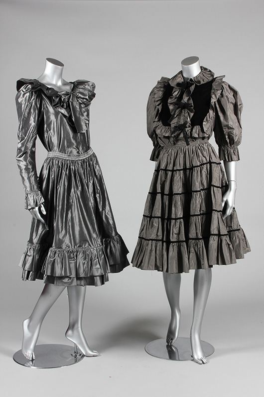 Christian Dior boutique, London, voluminous red taffeta evening gown, 1970s, with wide sleeves and side pockets, together with an Yves Saint-Laurent steel grey taffeta ensemble, circa 1976, with two bodices. Estimate  £150/250. From Kerry Taylor Auction's February 25, 2014 Vintage Fashion sale, London. Kerry Taylor Auctions image.