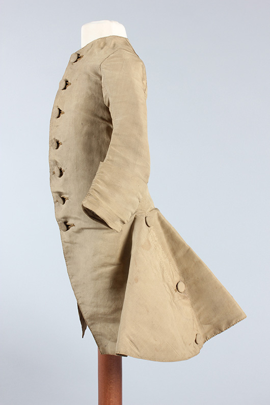 Rare snuff-brown silk boy's coat, circa 1770. Sold for £3600 at Kerry Taylor Auctions, London, December 3, 2013. Kerry Taylor Auctions image.