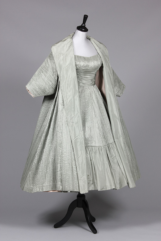 Ceil Chapman mint-green tree-bark taffeta evening gown and matching voluminous tent coat, mid 1950s. Estimate £400/600. From Kerry Taylor Auction's February 25, 2014 Vintage Fashion sale, London. Kerry Taylor Auctions image.
